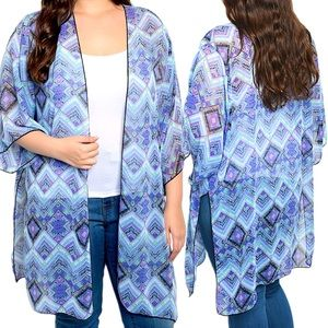 JESS FRESH Sweaters - Blue graphic print sheer kimono